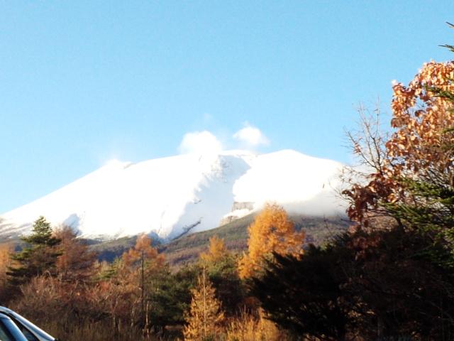 浅間山に雪が降りました。